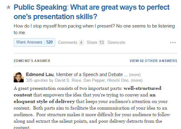4  Edmond Lau's answer to Public Speaking  What are great ways to perfect one's presentation skills  - Quora